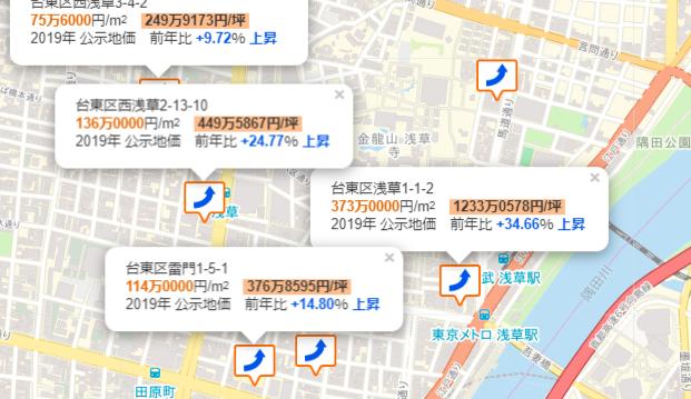 浅草の地価マップ