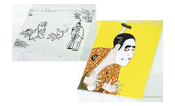 バカ殿様キャンバスアート 各5,500円 バカ殿様を鳥獣戯画風、写楽風に表現したキャンバスアート。ほかに富獄三十六景風もあります。