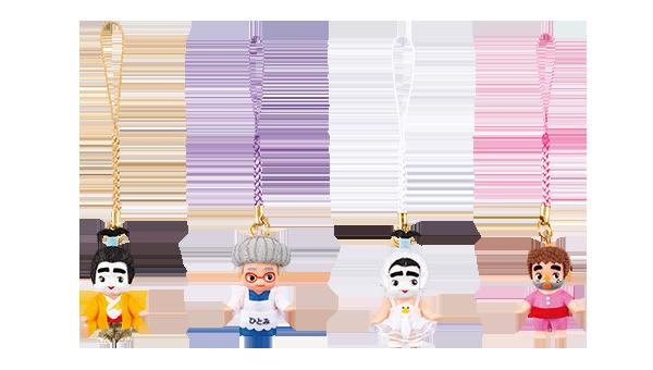 キューピー 根付け 各880円 キューピー人形のかわいらしい表情はそのままに、志村さんのキャラクターの本格コスプレ!