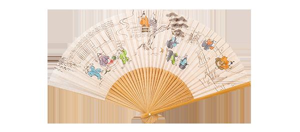京扇子 7,700円 「バカ殿城中城下劇画図」と題した、京都の老舗扇子職人との貴重な限定コラボ商品。