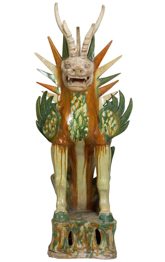 さんさいちんぼじゅう 中国 唐時代・7~8世紀 横河民輔氏寄贈 墓を守るために墓室に置かれた空想上の猛獣。